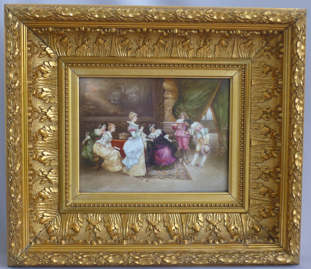 Antique Sevres plaque depicting nobles in Gilt wood frame signed Vinea