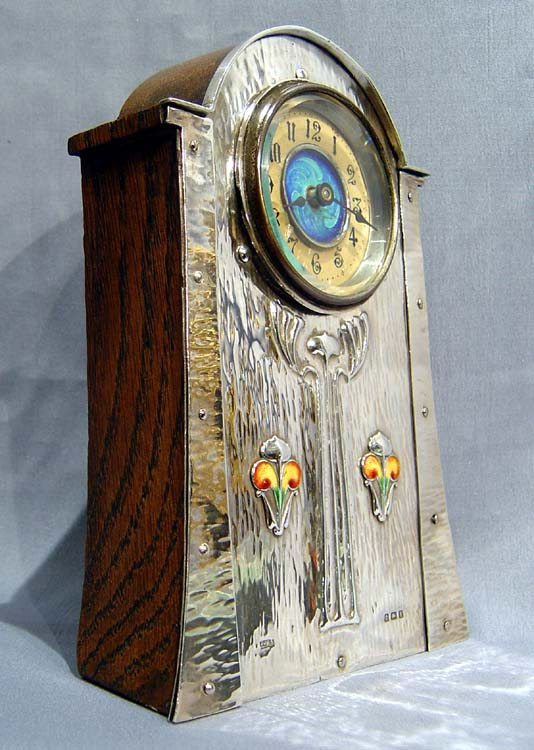 Antique silver enamel art nouveau clock in manner of for Arts and crafts clocks for sale