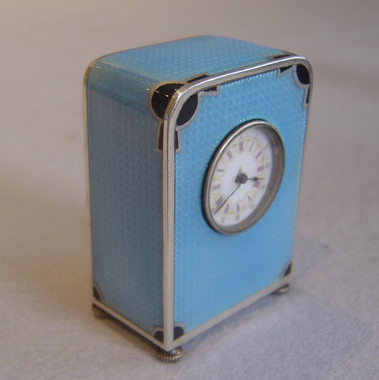 Antique sub miniature carriage clock in silver and sky blue guilloche enamel in original case ...