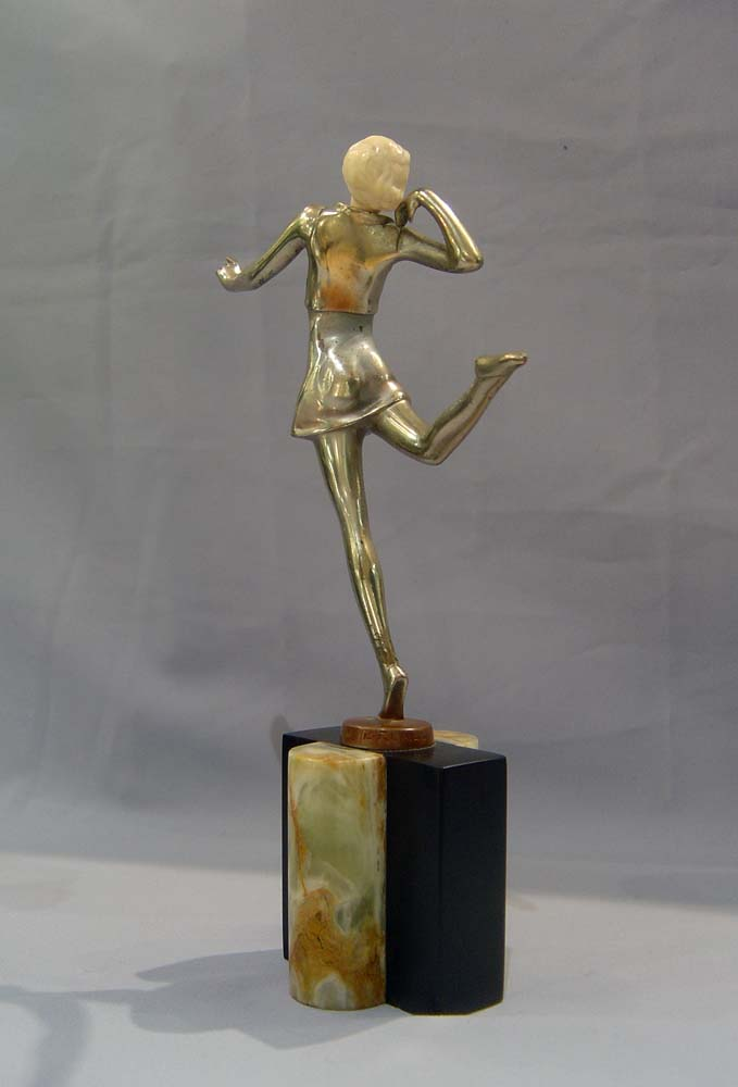 art deco figure in bronze and ivory cold painted signed. Black Bedroom Furniture Sets. Home Design Ideas