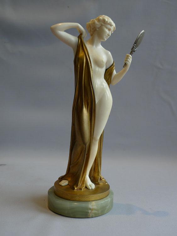 Ferdinand Preiss Art Deco bronze and ivory of Vanity with mirror. - Gavin Douglas Antiques