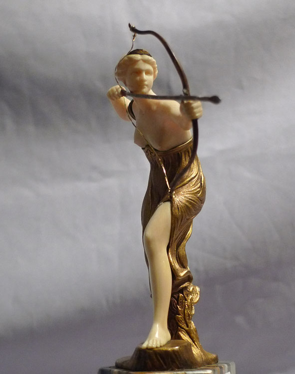 art deco bronze and ivory figure on marble base by morin. Black Bedroom Furniture Sets. Home Design Ideas