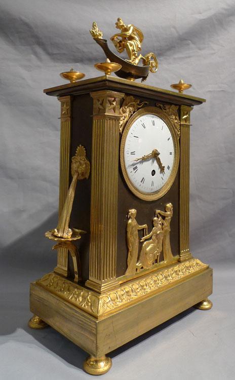 French Empire Ormolu Antique Mantel Clock Of Neo Classical