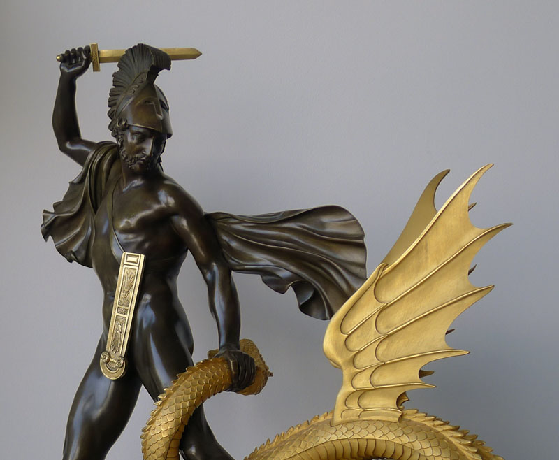 Antique French Empire clock of Jason slaying the dragon from the Greek myths. - Gavin Douglas ...