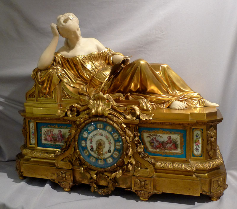 Antique French Rare Ormolu Carrera Marble And Porcelain