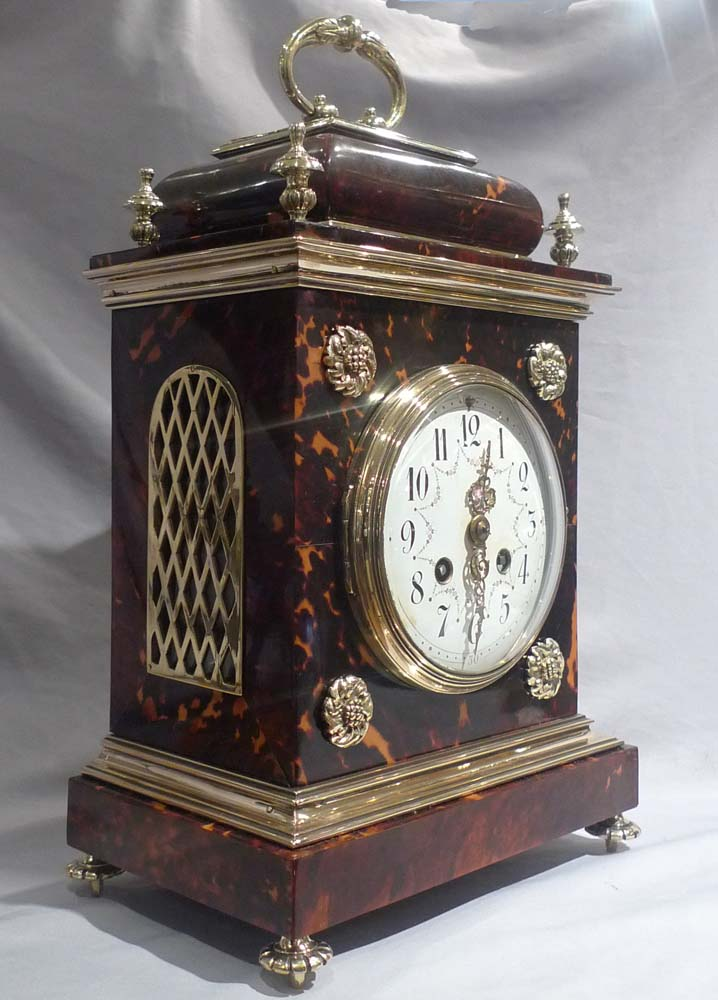 Antique tortoiseshell and gilt bronze bracket clock in Queen Anne style