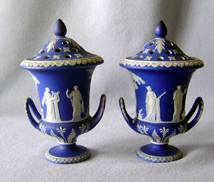Pair Antique English Wedgwood Blue And White Potpourri Vases And
