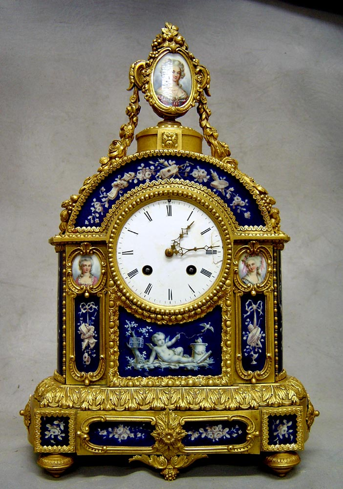 Antique French Louis XVI style ormolu u0026 porcelain mantel clock. - Gavin Douglas Antiques