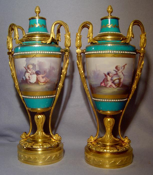 Pair Of Antique French Ormolu Mounted Paris Porcelain Vases In Bleu