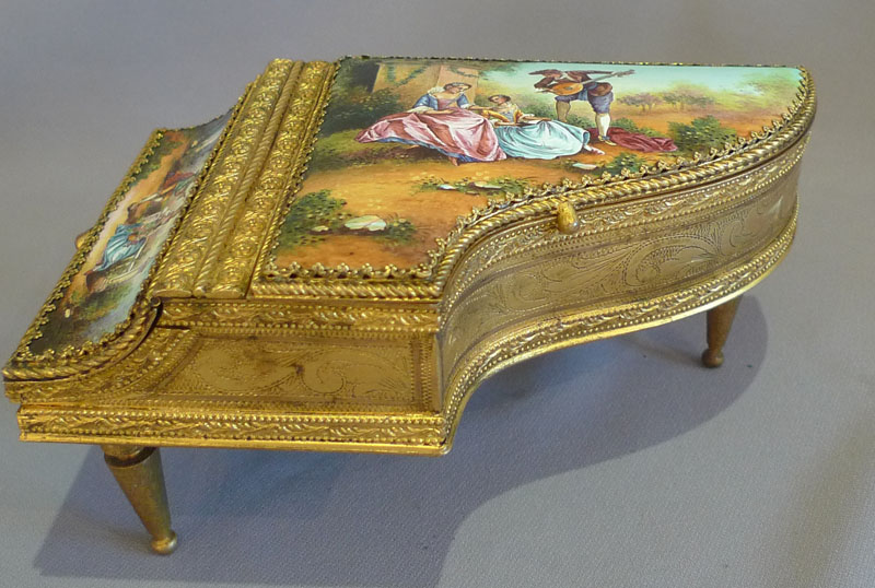 Antique Musical Grand Piano In Hand Painted Enamel And