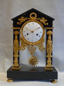 Antique French clock, Directoire period, portico form, signed Revel Paris.