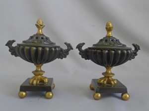 Antique Pair of English Regency pastille burners in patinated bronze and Ormolu