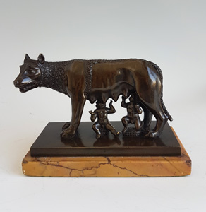 Antique Italian Grand Tour bronze of wolf and Romulus & Remus, the