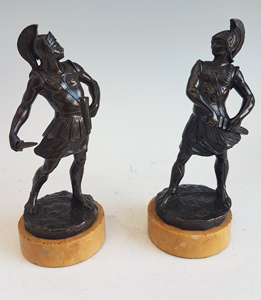 Antique Grand Tour pair of bronze Gladiators on Sienna marble bases