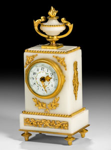 Antique French small mantel clock in Louis XVIth style, white arble and gilt bronze mounted