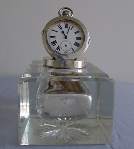 Antique English Edwardian silver and cut glass watch inkwell by Mappin and Webb, London.