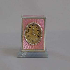 Fabulous pink guilloche enamel and silver sub-miniature carriage clock by Asprey