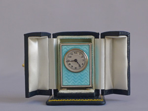Antique Sub miniature Silver Gilt and Guilloche enamel Carriage Clock