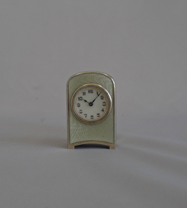 Antique Swiss Sub Miniature Silver and Guilloche enamel Carriage Clock