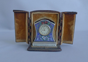 Antique Sub miniature Silver and Guilloche enamel Carriage Clock by the Geneva Clock Company