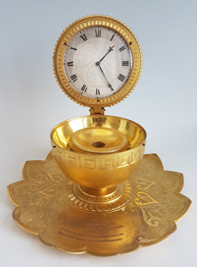 Antique Thomas Cole Inkwell with Clock no. 1111