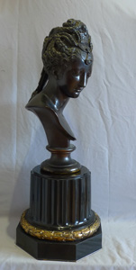 Antique Barbedienne bronze bust of classical lady on ormolu mounted black marble base.