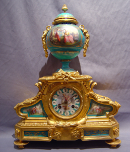 Antique French blue porcelain and ormolu clock.