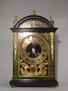 Antique French green tortoiseshell boule religeuse style clock.