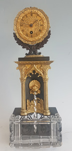 Antique French Gothic mantle clock with water automaton feature