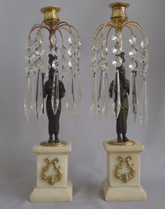Antique English Egyptian revival table lustre candlesticks.