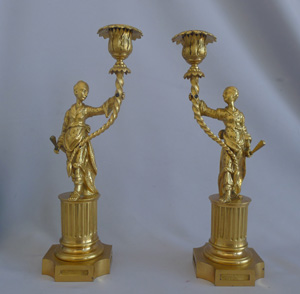 Antique Pair of English Regency Ormolu Chinoiserie Candlesticks